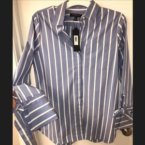 NWT Blue & White Stripe Button Down Tie Sleeve Top